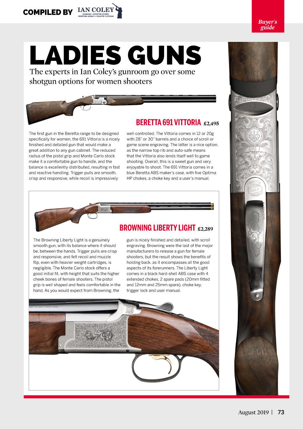 Clay Shooting - Buyer's Guide - Ladies Guns - August 2019