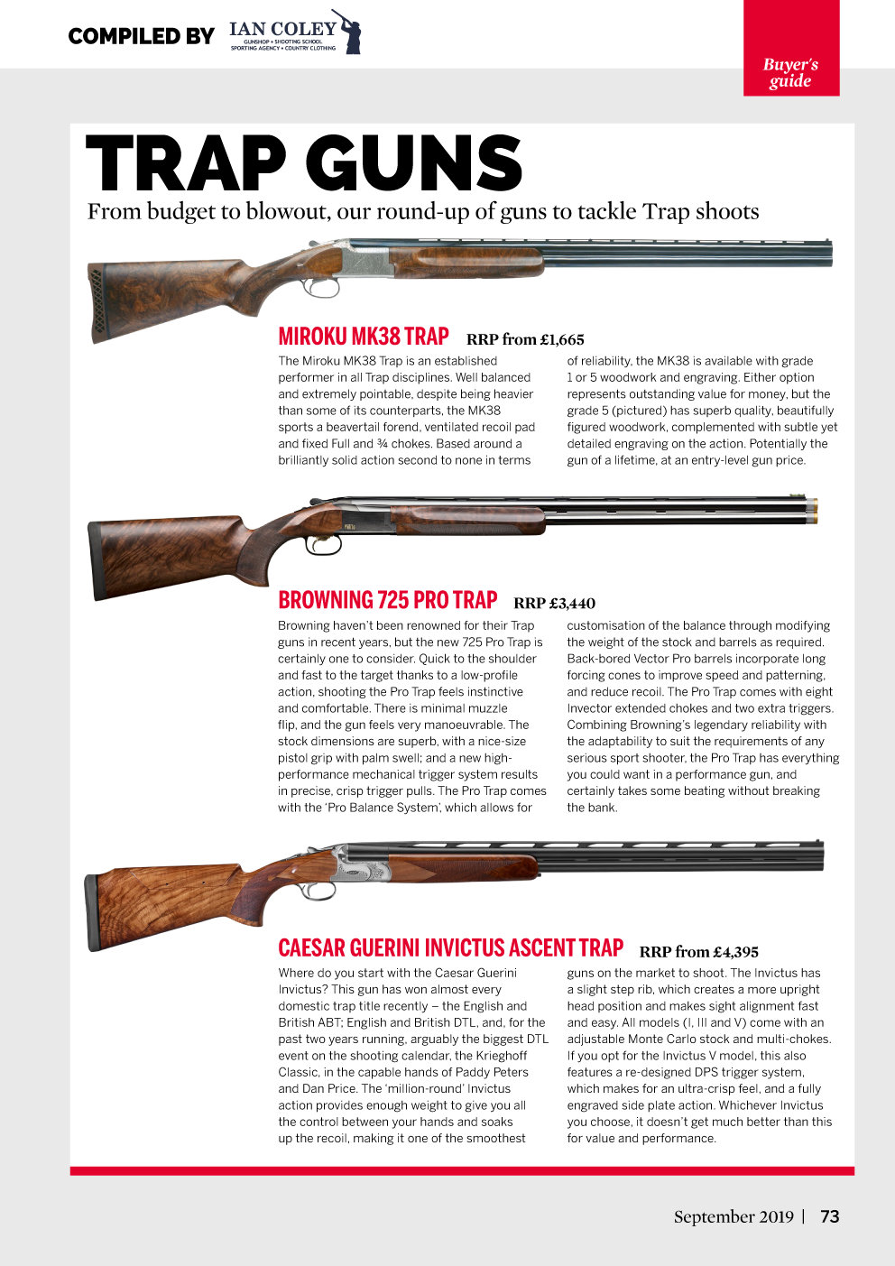 Clay Shooting - Buyer's Guide - Trap Guns - September 2019